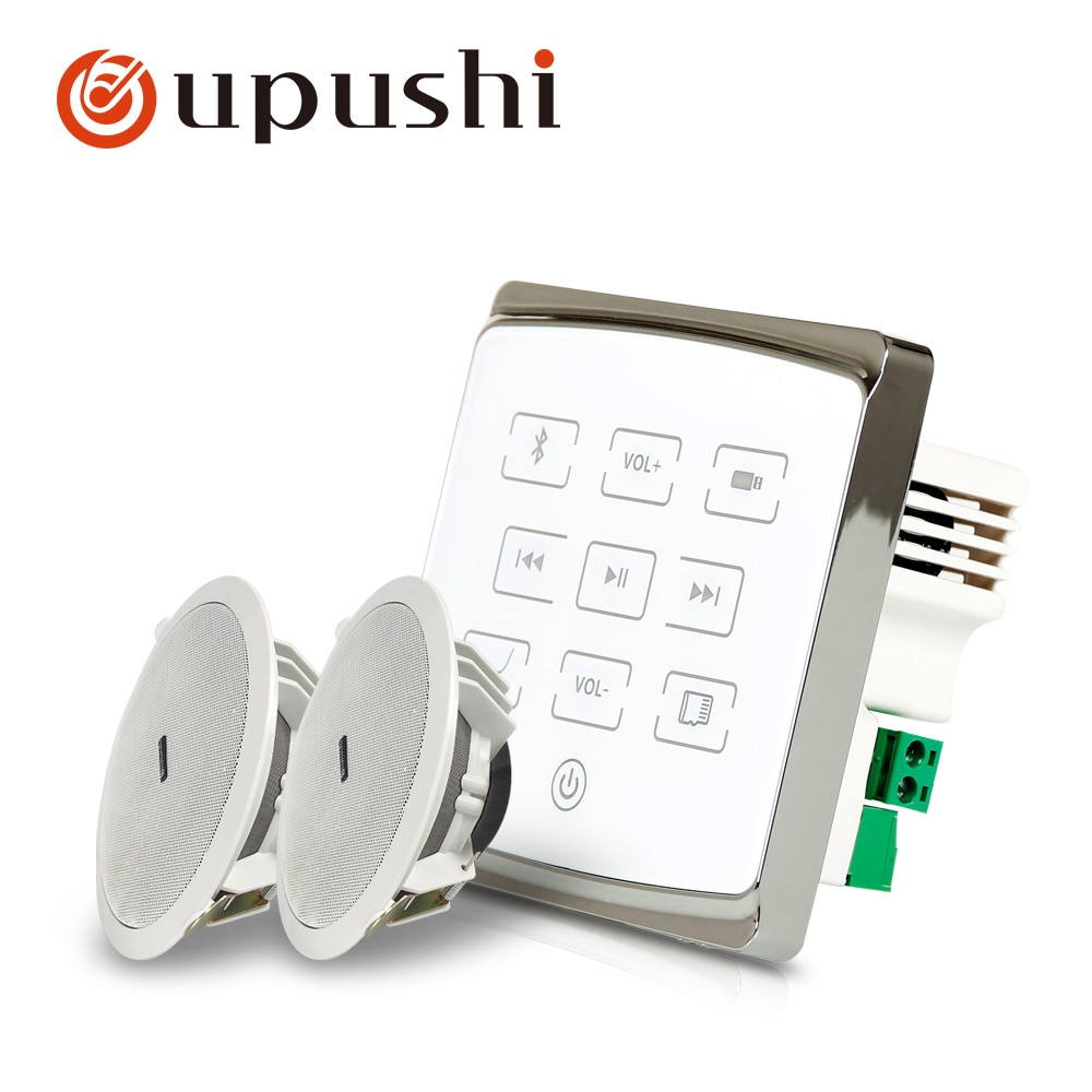 ¡Superventas! amplificador de pared A1 + CE502 de Oupushi con paquete de altavoces de techo para sistema de sonido de música de fondo