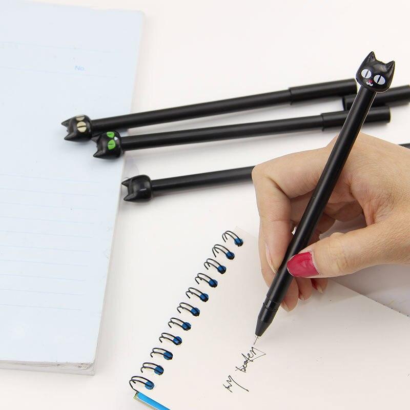 4 Pcs Zwarte Kat Gel Pen Kawaii Koreaanse Stationery Creative Gift Schoolbenodigdheden 0.5Mm