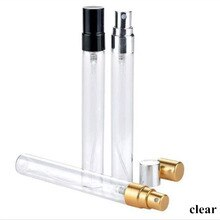 10ml szkło bezbarwne butelki z rozpylaczem z anodyzowanego aluminium dysza perfumy kosmetyczne wielokrotnego napełniania butelki mróz złoty srebrny czarny 100 sztuk/partia