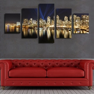 Oil Painting Seaside City Beautiful Night, 5 Panels/set Hd Canvas Print Painting Artwork, Wall Art Picture.decorative