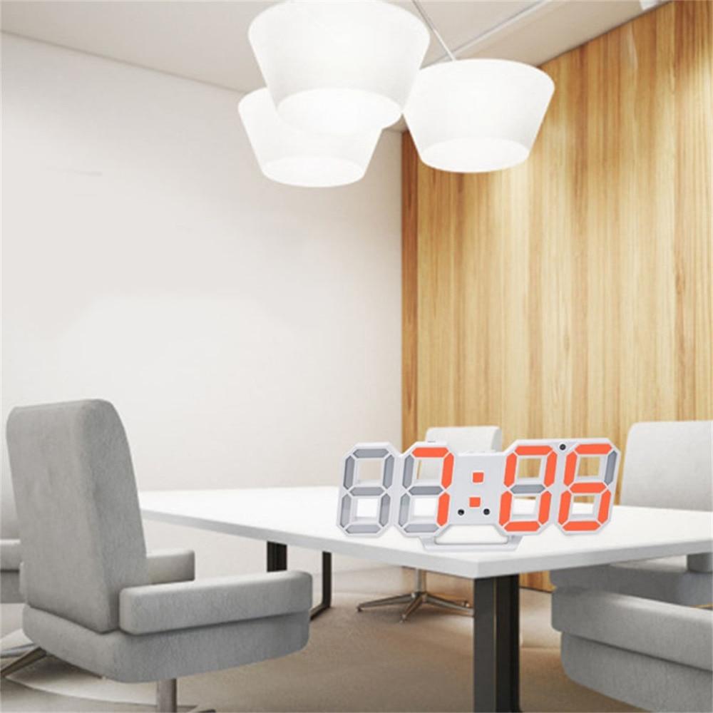 Coloridos Relojes de pared digitales LED 3D 24/12 horas de visualización mesa de escritorio Despertadores con función de dormir de luz nocturna para el dormitorio