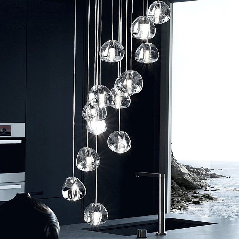 Moderna lámpara de araña de cristal con gotas de agua, lámpara colgante de Lustre para sala de estar, escalera, vestíbulo, Luminaria, colgante