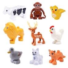 Grandes particules modèle blocs de construction accessoires jouets pour enfants compatibles avec Duplo Animal cerf vache chien Lion renard oiseau briques