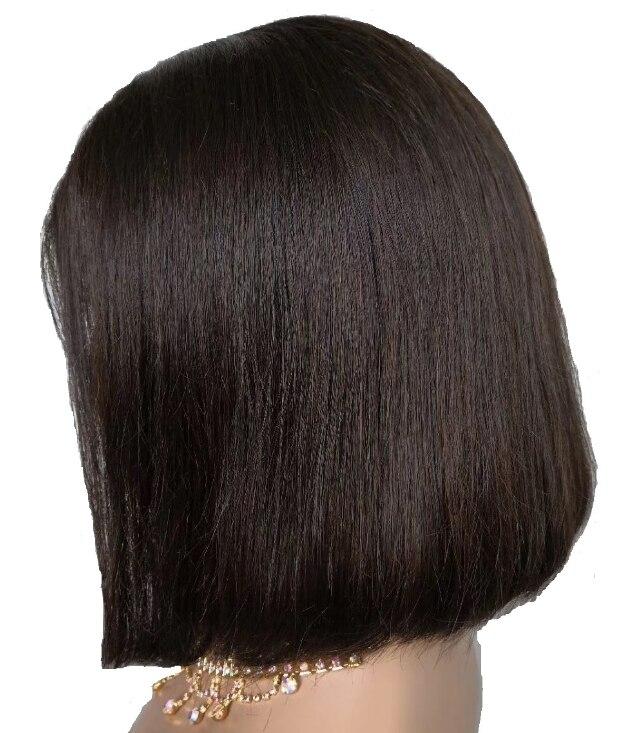 Peluca de pelo humano brasileño con cutícula alineada virgen pelo ondulado corto rizado Frontal de encaje Bob pelucas para mujeres negras