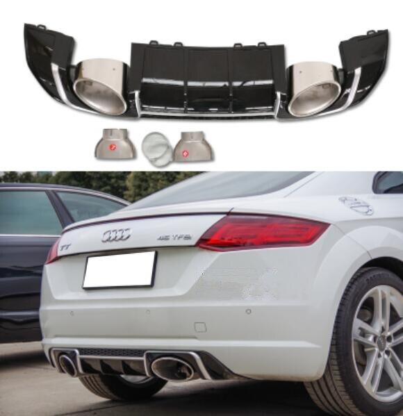ABS parachoques trasero del coche, difusor trasero del coche, salida del coche tubo de escape consejos Silenciador para Audi TT TTS 2015 2016 2017 2018 2019