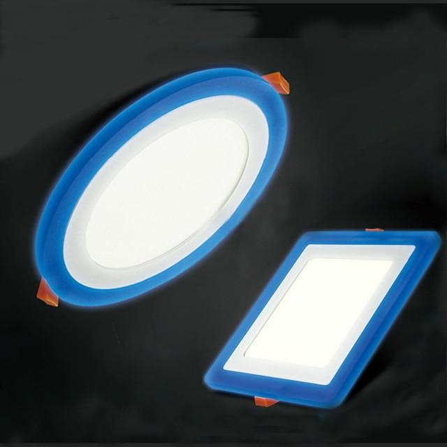 10 piezas 6 W 9 W 18 W acrílico LED Panel Downlight 3 modelo de Panel redondo luz caliente blanco frío lámpara de techo azul empotrada iluminación interior