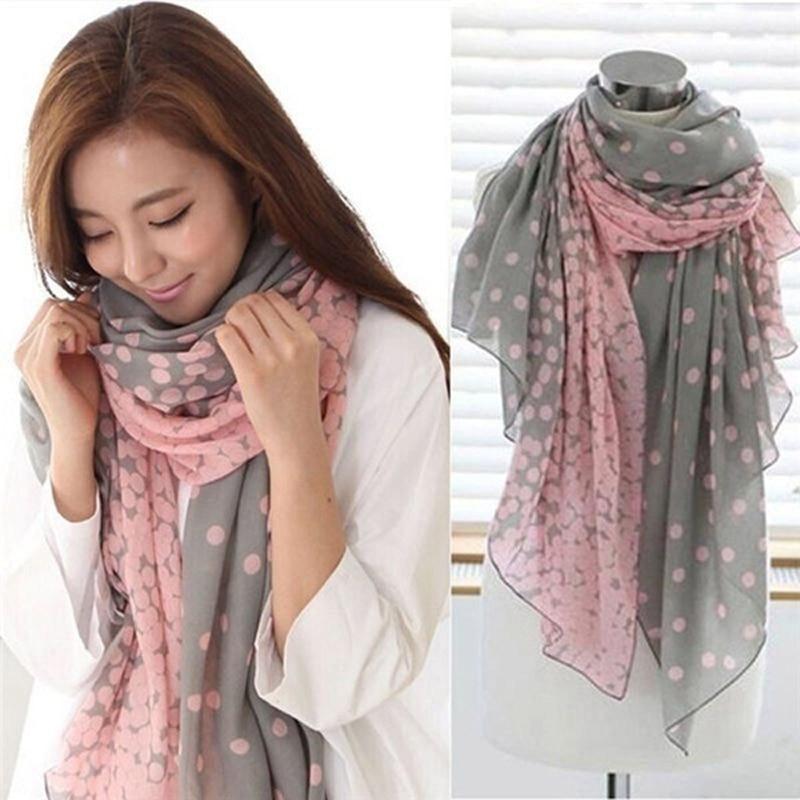 bandana Scarves for Women Shawl   Hot Lovely Women Soft Cotton Lady Comfortable Long Neck Large Scarf Shawl Voile Stole Dot Warm