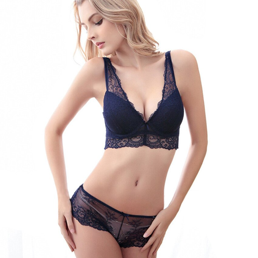 New underwear lace sexy bra set women's summer 4breasted deep V-neck push up bra set