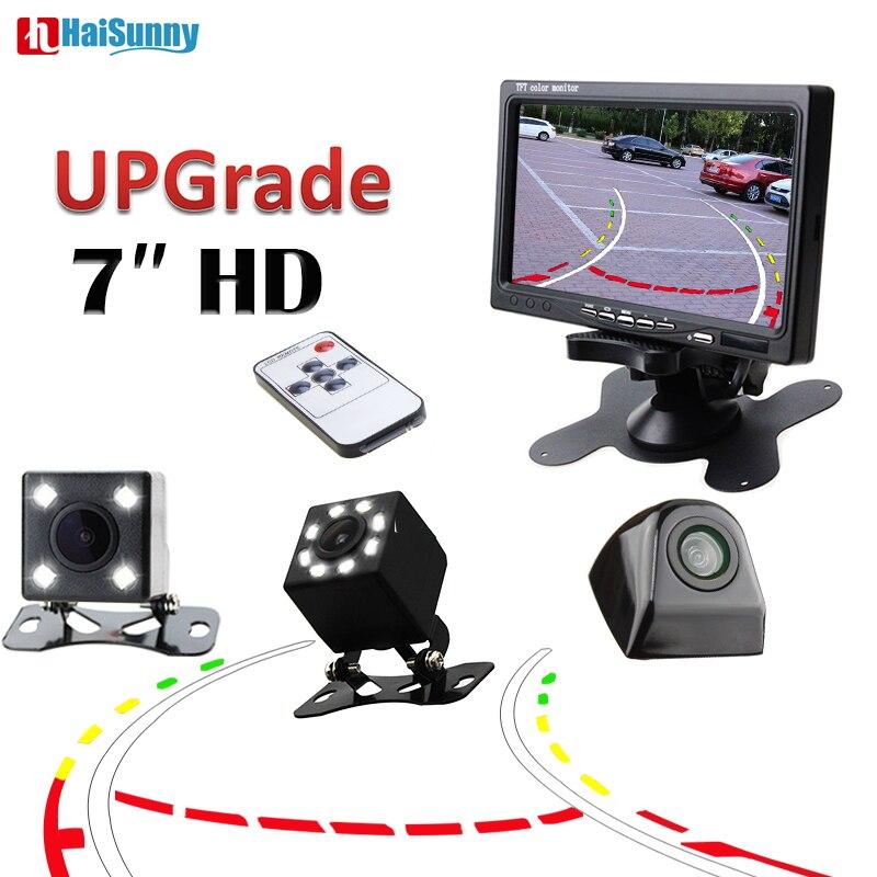 HaiSunny, sistema de Monitor de Asistente de estacionamiento de coche, reproductor de vídeo de 7 pulgadas con visión nocturna, cámara de aparcamiento inversa, línea dinámica