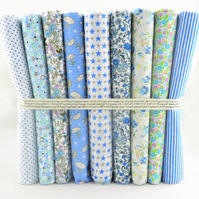 "Booksew 50CMx50CM 9 Designs Assorted ""Kawaii Blue"" Cotton Fabric Scrapbooking Patchwork Fabric Tilda cloth Quilting"