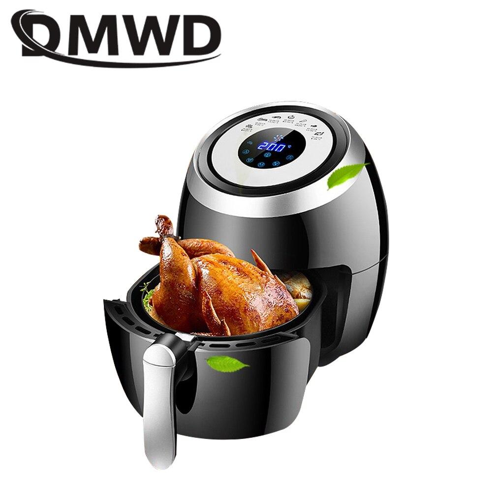 Freidora eléctrica automática DMWD para patatas fritas sin aceite, freidora multifuncional sin humo, pollo frito, parrilla para asar