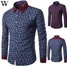Womail Shirt Men Fashion Print 2019 Spring Autumn Long Sleeve Men Dress Shirt Slim Fit Male Shirt Blouse Business Top Casual J79