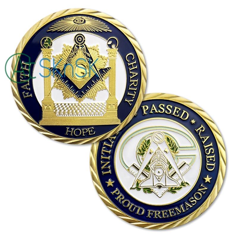 1/3/5/10 Uds. Fe esperanza caridad Mason monedas conmemorativas iniciadas pasado elevado emason alado Mason moneda Masonic Challenge