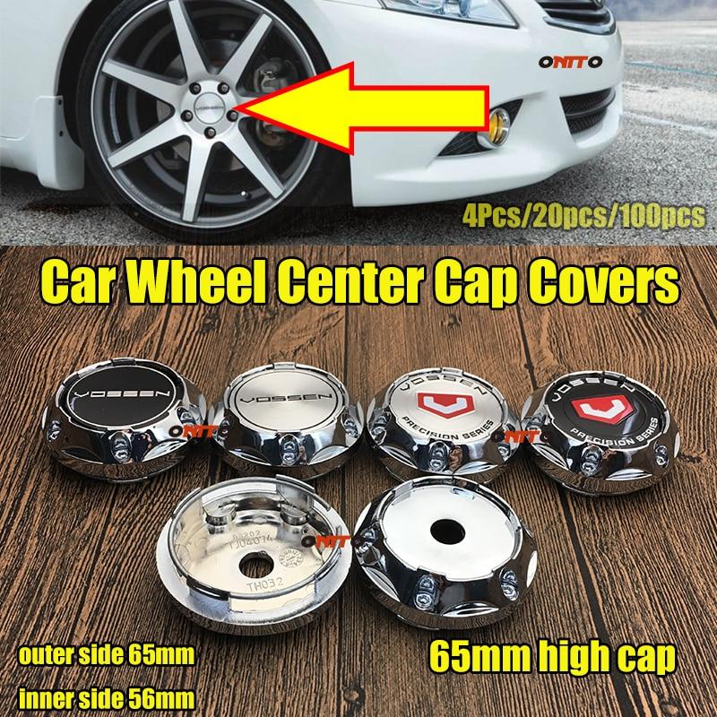 Diseño de coche VOSSEN emblema 45MM pegatina 65mm tapa alta rueda borde tapa tapacubos de centro de rueda cubiertas para E60 E90 F10 F30 F15 E63 E64