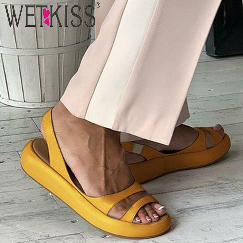 WETKISS, Sandalias planas informales de moda para mujer, sandalias de verano plataformas, zapatos femeninos de Pu con Espalda descubierta, zapatos de chica para mujer, novedad de 2020, amarillo