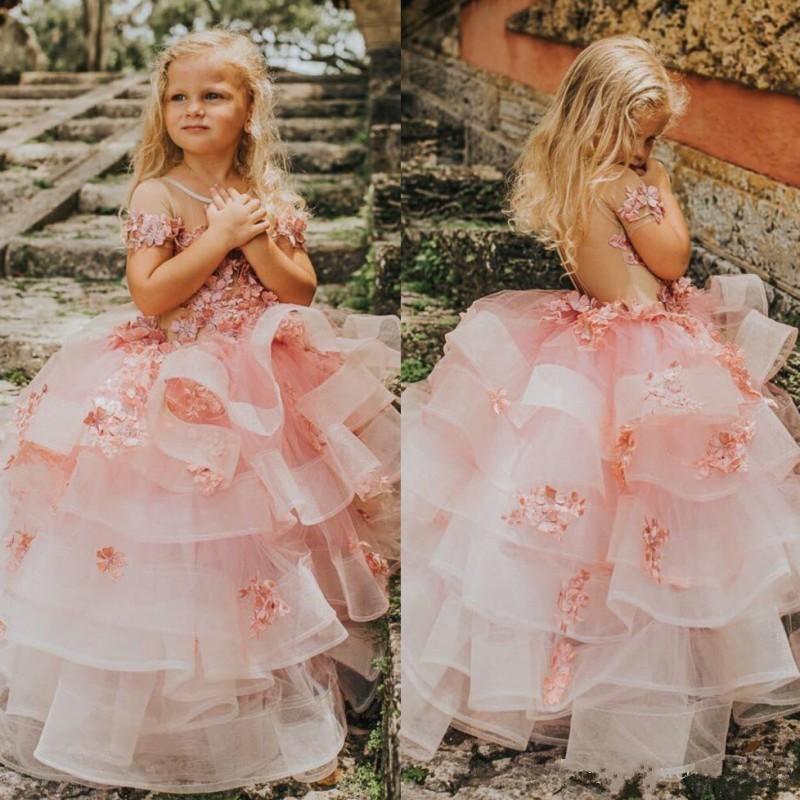 Elegante vestido escalonado de flores para niñas con flores hechas a mano ilusión en la espalda mangas cortas vestidos de desfile para niños pequeños vestidos de graduación de tul para niños
