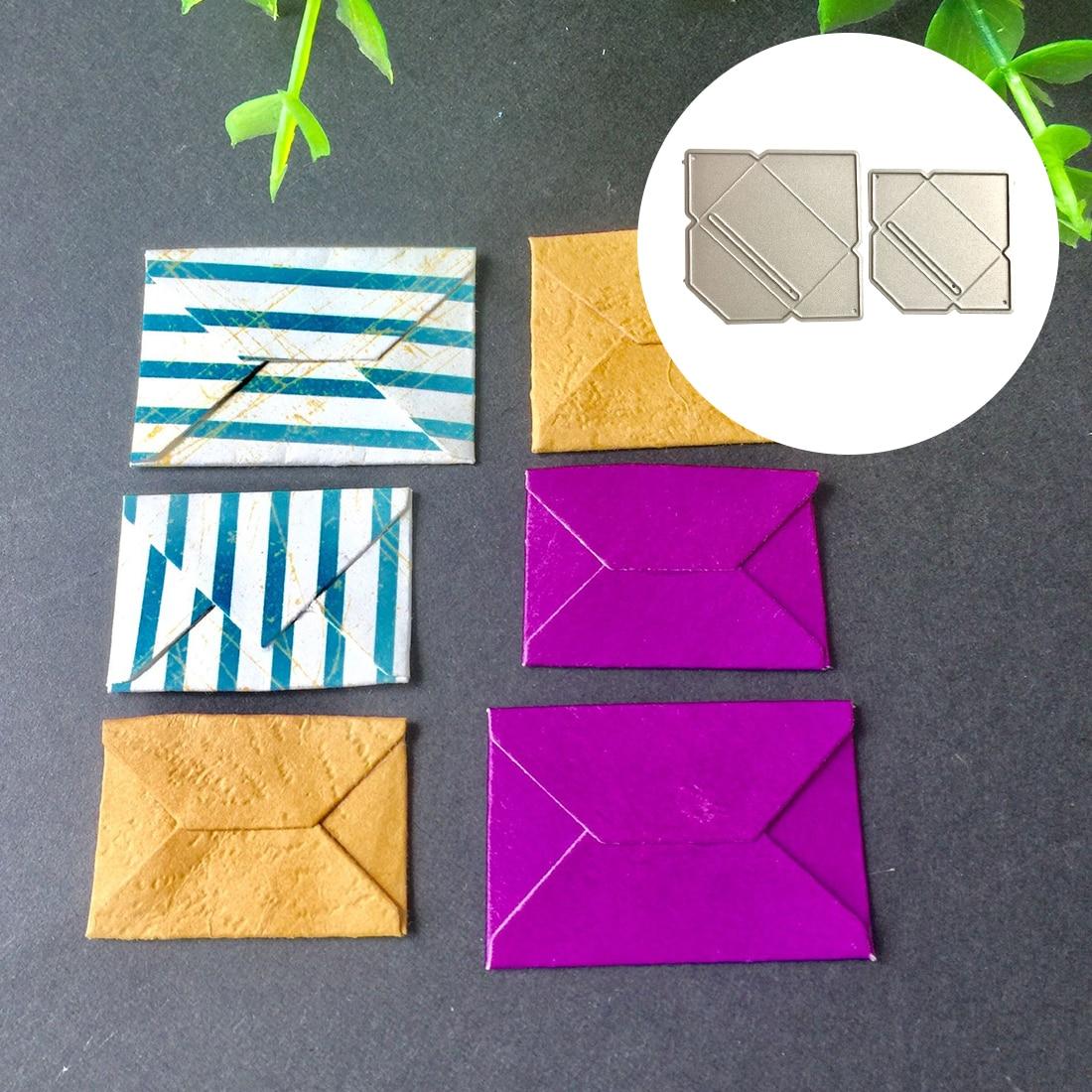 2 pçs pop up envelope metal cortes de corte dados para diy scrapbooking gravando cartões de papel que fazem suprimentos de artesanato decorativo