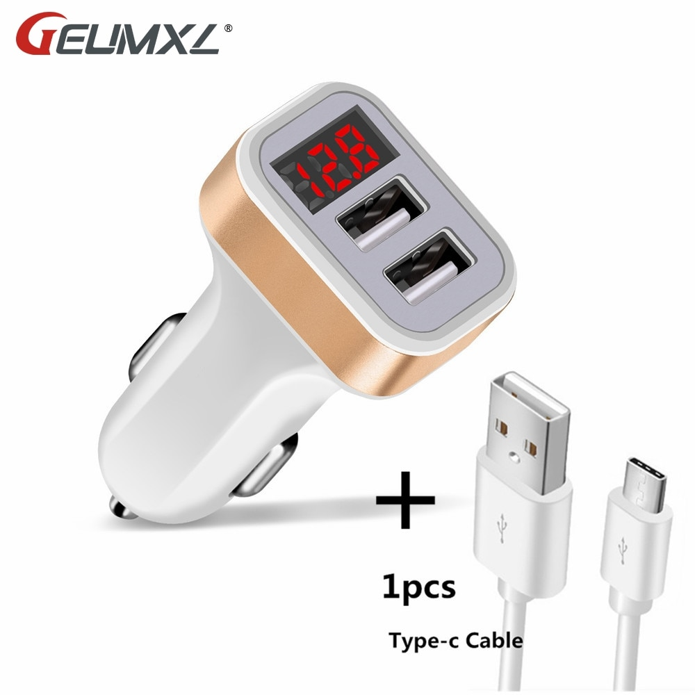 Cargador de coche pantalla Digital puerto Dual USB adaptador 2.1A coche-cargador doble tipo C USB para el teléfono móvil de Samsung de carga rápida