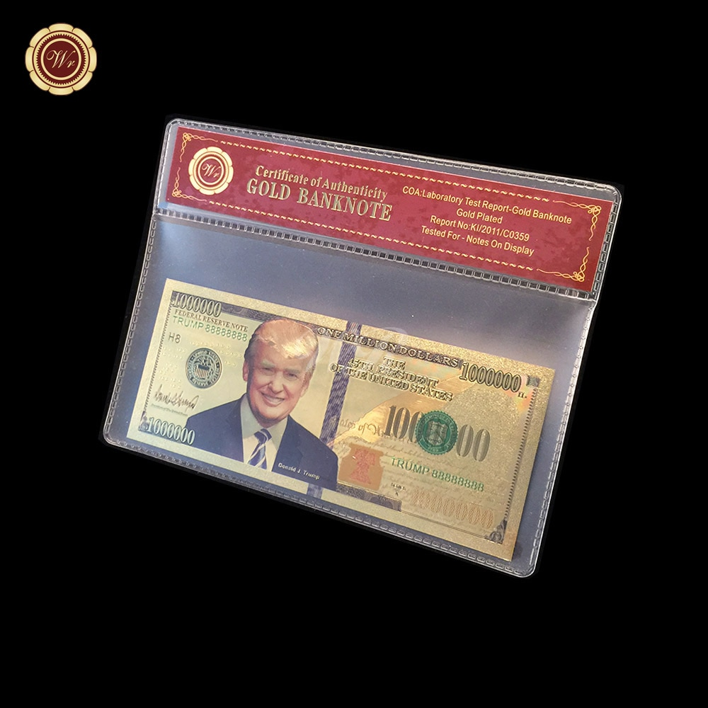 WR, presidente de Estados Unidos, Donald Trump, billete de oro de 24k USD 100 0000 con marco de colección de negocios, regalo, decoraciones para el hogar