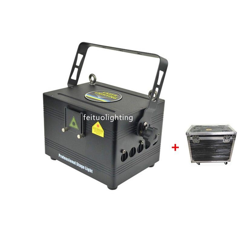 2 uds + Flycase profesional MINI RGB láser de animación a todo Color 1W 2W 3W Proyector láser de animación 3D escáner láser rayo de luz