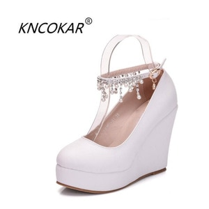 KNCOKAR  Summer new fashion high-end elegant chain bracelet with high wedge heels and women's shoes34-42