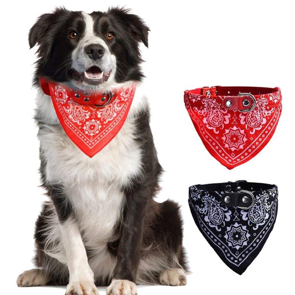 Collar de perro de cuero para mascotas, Collar de perro ajustable de plomo, Collar de Bandana para perro, accesorios para perros, productos para gatos y mascotas, pañuelo para Lazo, pañoleta