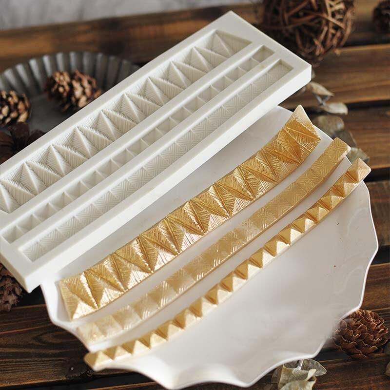 Molde de silicona para Fondant con borde largo geométrico de Erim, molde de modelado de ritmo seco de Metal, accesorios de cocina para hornear, herramientas de decoración de pasteles