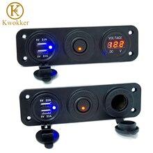 DC 12/24 в 5 В/2,1 а вольтметр двойное USB зарядное устройство прикуриватель для RV автомобилей лодок автомобилей грузовик GPS MP3 автомобильное зарядное устройство с переключателем