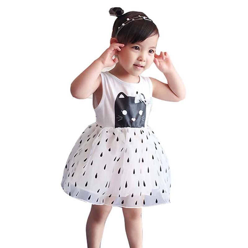 Ropa de verano para niñas, vestidos de princesa, ropa para niños, Vestido de manga para niñas, bonito vestido de lunares