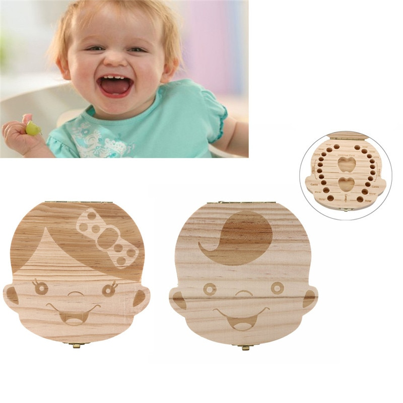 Spanish/English Tooth Box organizer for baby Milk teeth Save Wood storage box for kids Boy&Girl drop shipping