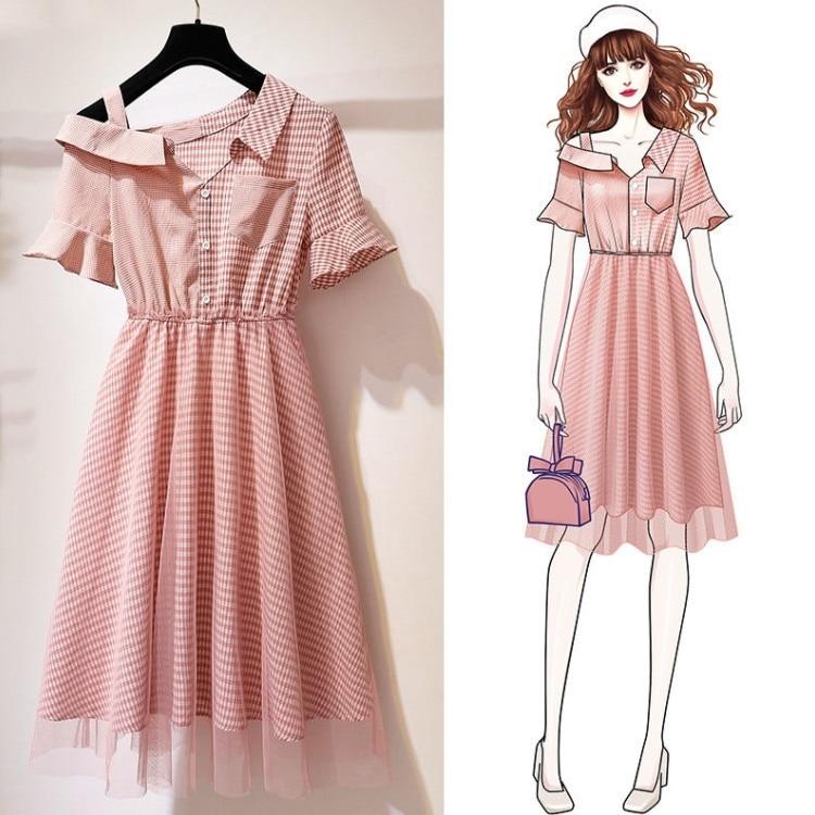 ICHOIX Korean striped shirt dress A-Line elegant mesh patchwork pink short dress off shoulder casual women summer dresses 2019