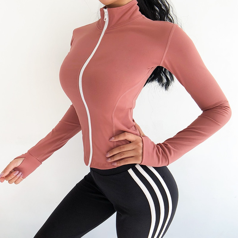 Heal Orange Zipper Original Running Jackets Women Sport Jacket Women Training Yoga Gym Jacket Quick Dry Fitness Jacket Women