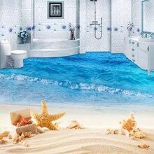 Papier peint Mural 3D personnalisé vague de mer   Autocollant de Photo, autocollant de peinture de plage, pour la salle de bain, chambre denfants, PVC, étanche, peintures murales de sol antidérapantes