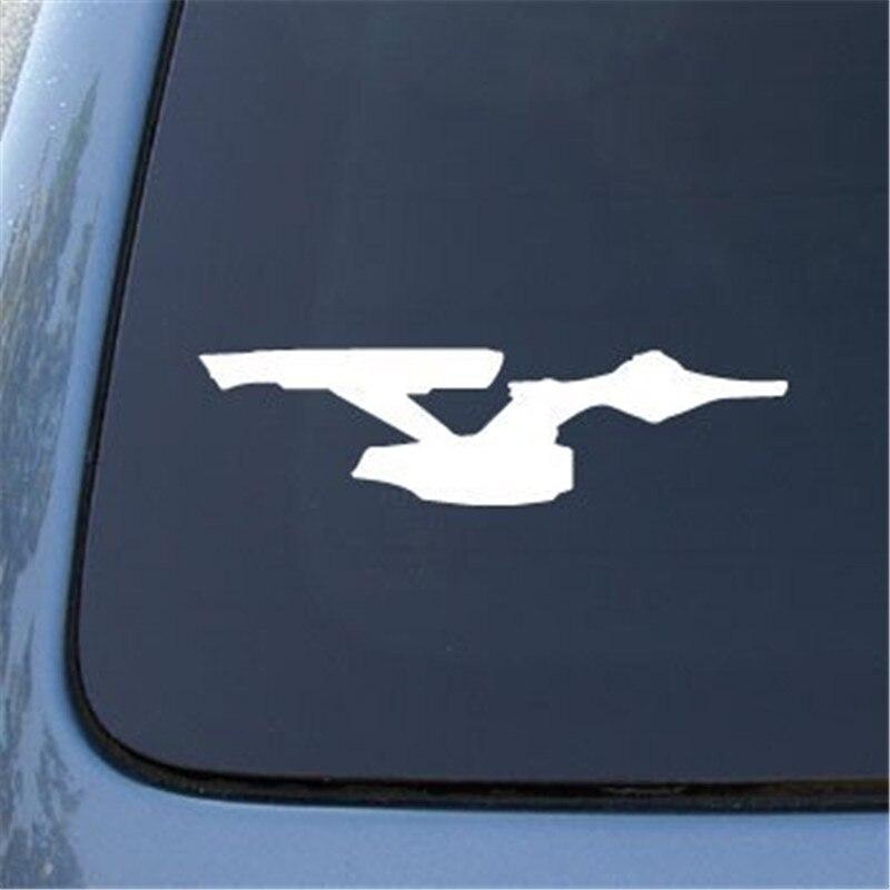 Oferta máxima, pegatina para coche de Enterprise Star Stafleet, pegatina troquelada para ordenador portátil de 6 pulgadas (blanco y negro)