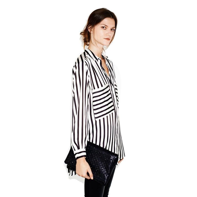 Formal blouses Long Sleeve Button Down Women's Shirt Vertical Striped Chiffon Pocket Career Tops for women