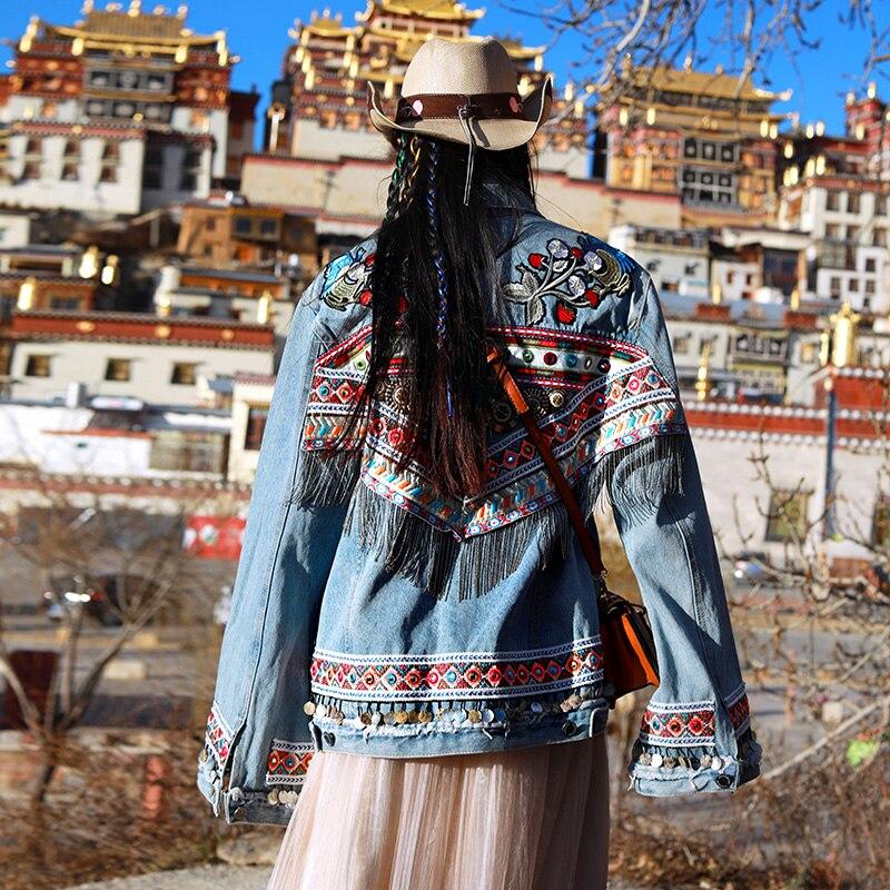 KHALEE YOSE chaqueta Denin bordada Vintage, chaquetas de mezclilla Hippie gitana, chaqueta de lentejuelas de manga larga de gran tamaño, chaqueta étnica de otoño para mujer