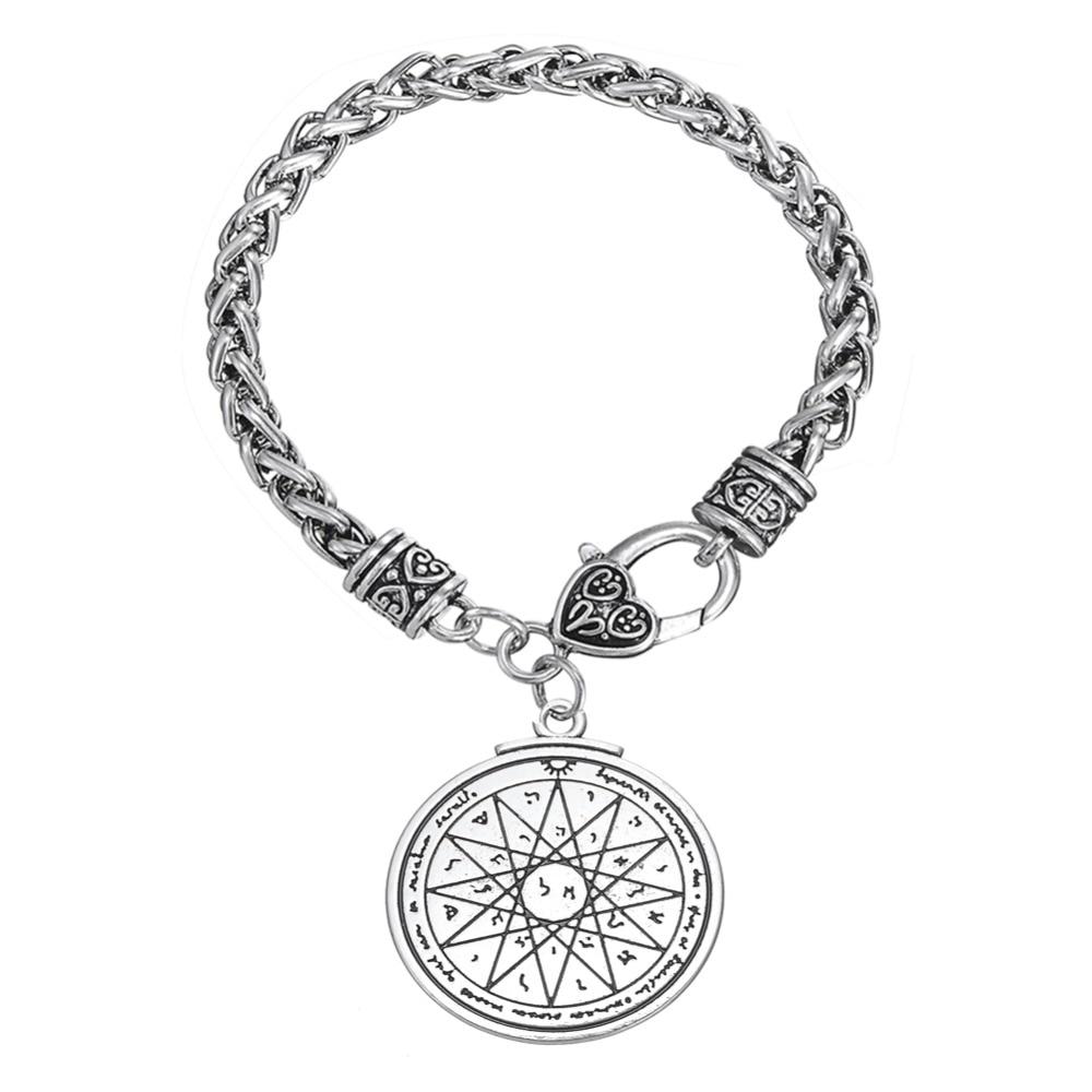 Dawapara joyería Wiccan talismán de la clave de Salomón, el metal texto pulsera pulseras para hombres