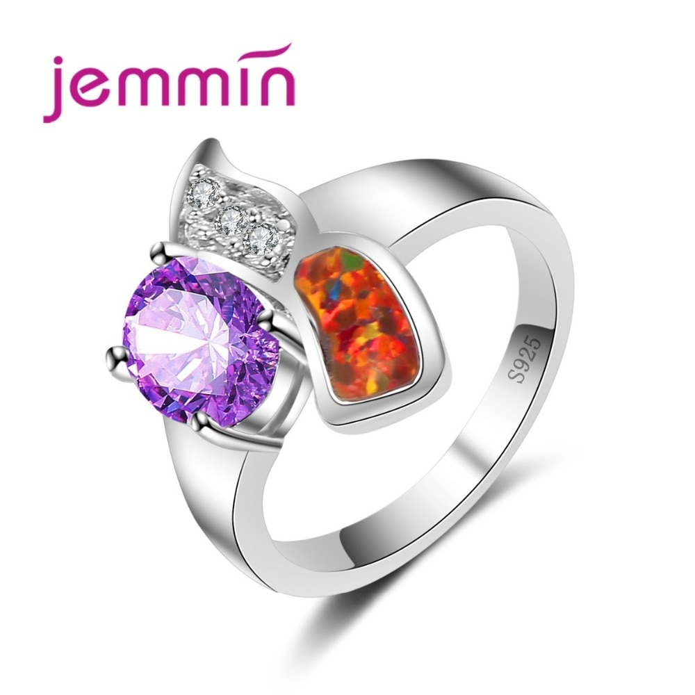 Nuevo diseño místico para mujer, joyería de plata de ley 925, anillo de ópalo naranja, anillo colorido