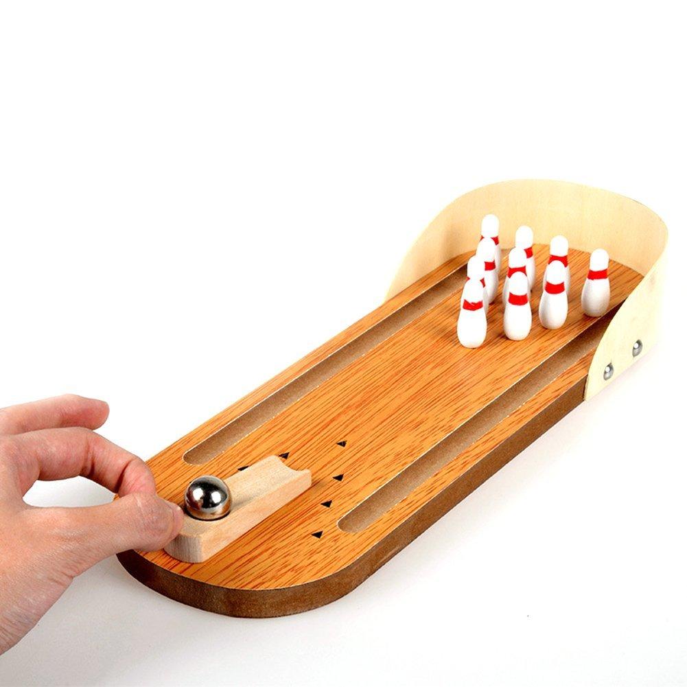 دروبشيبينغ سطح المكتب المصغرة لعبة البولينج مجموعة خشبية البولينج زقاق عشرة دبوس معدني الكرة مكتب لعبة