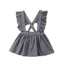 Детское платье с перекрестными ремешками для маленьких девочек; праздничное платье; однотонное платье с рукавами-крылышками; одежда