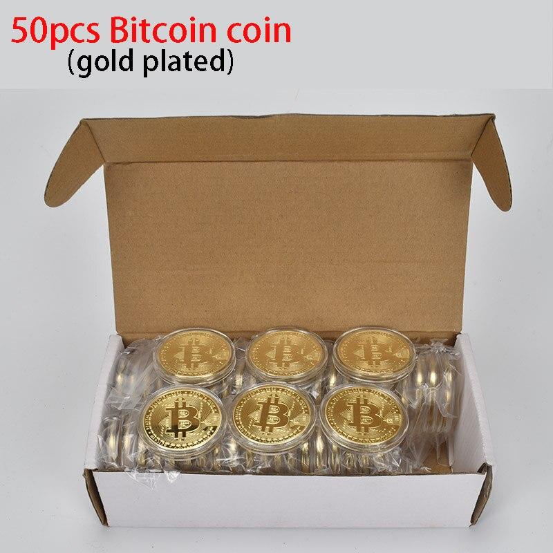 ¡Oferta! Moneda Bitcoin BTC de 50 unids/lote, moneda de Metal para recuerdo