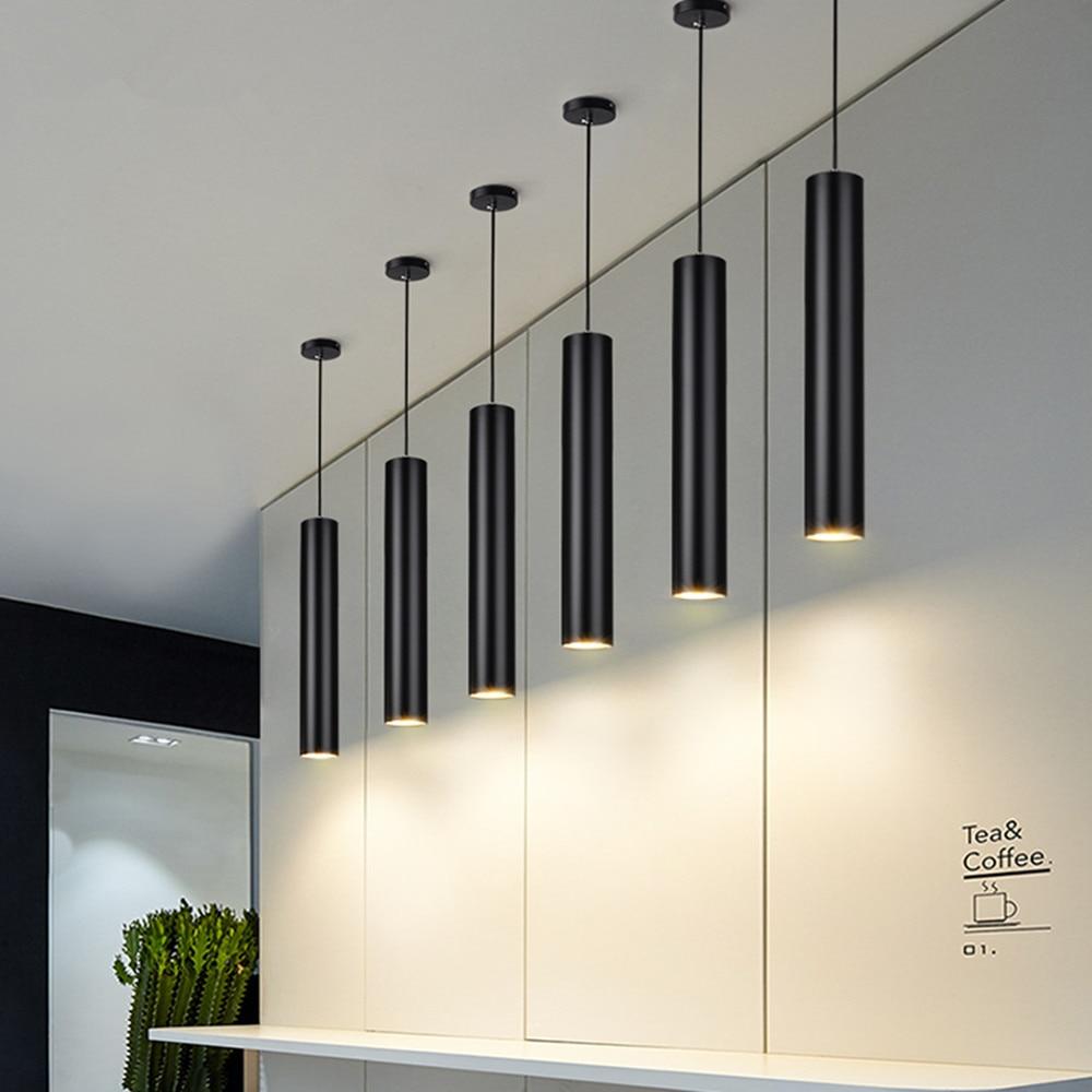 Pode ser escurecido led lâmpada pingente longo tubo lâmpada ilha da cozinha sala de jantar loja barra decoração cilindro tubo luz pingente lâmpada cozinha