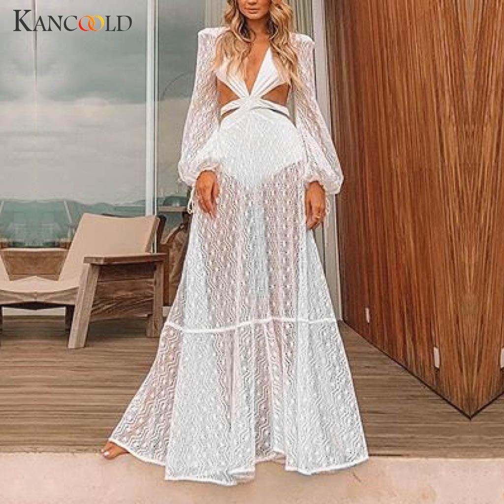 KANCOOLD dress Women Summer Sexy Lace Long Sleeve Deep V Neck Beach Dress Evening Party Empire fashion new dress women 2019MAY31