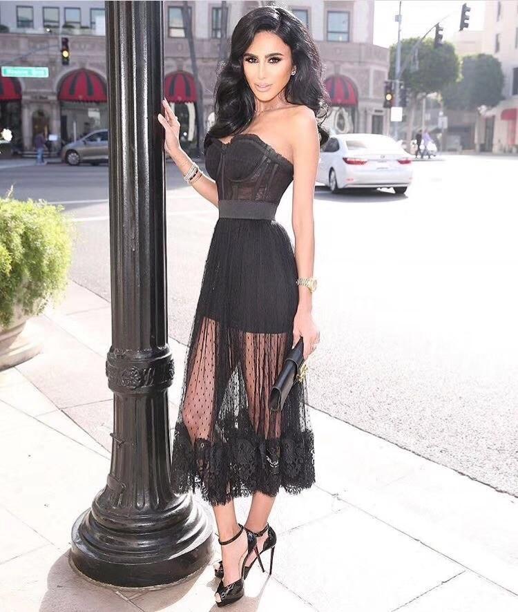 Newest High Quality Strapless Black Rayon Bandage Dress Evening Party Elegant Dress