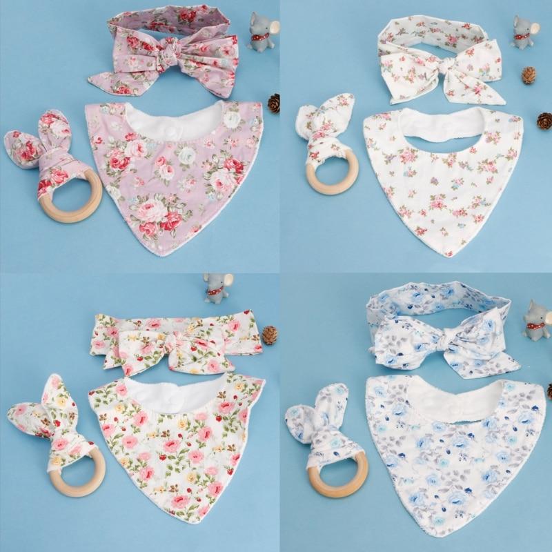 3 шт., Детские хлопковые нагрудники с заячьими ушками, повязка на голову для младенцев, слюнявчик, набор полотенец, детский нагрудник, свежий дизайн, красивый цвет