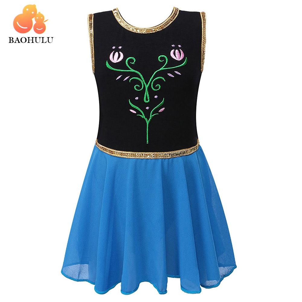 BAOHULU Negro Azul Rosa Elsa vestido de baile para niñas Ballet Tutu Ropa de baile infantil gimnasia leotardo acrobática traje 3-12Y Niño