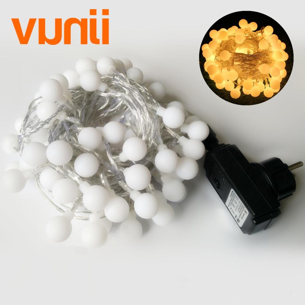 10 M 100 LEDs Mini mundial Cadena de luz LED de la UE 220 V brillo 8 modos de cambio impermeable luces de hadas para Boda/fiesta/jardín