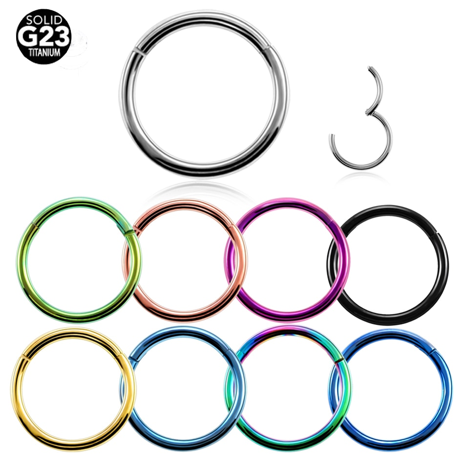 1PC G23 Titanium Hinged Segment Nose Ring 16g&14g Nipple Clicker Ear Cartilage Tragus Helix Lip Pier