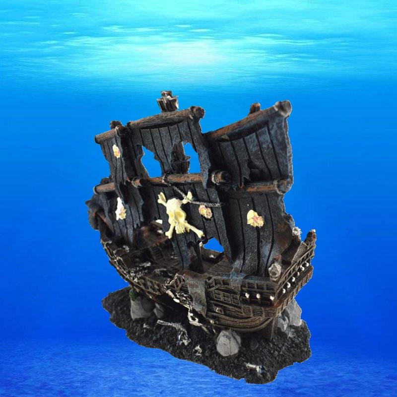 الراتنج الاصطناعي الحوض غرقت قارب القراصنة الديكور الأسماك خزان التالفة السفينة حلية حوض السمك تانك الأسماك الروبيان كهف الحجر الصخري