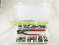 free shipping pipe clamp 80 pcs with pliers stainless steel 304 single ear hose clamps assortment kit single no box